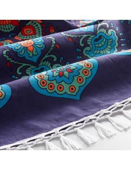 6' Round Blue And Magenta Medallion Cotton Festival Blanket by World Market