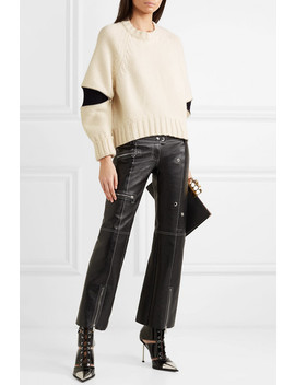 Zip Embellished Two Tone Wool Sweater by Alexander Mc Queen