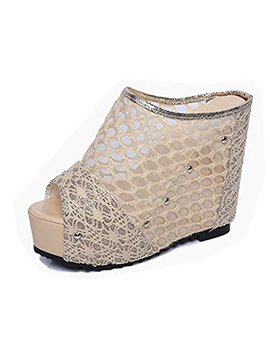 T July Sexy Mesh Wedges Platform High Heel Sandals For Women Hollow Out Peep Toe Slides Pumps Shoes by T July
