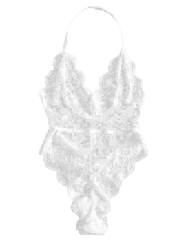 Halter Scalloped Lace Lingerie Teddy   White M by Zaful