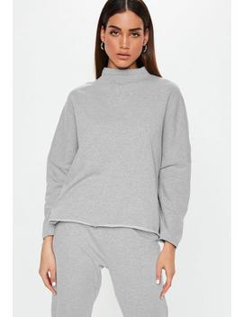 Gray High Neck Drop Shoulder Long Sleeve Sweatshirt by Missguided