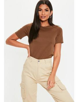 Brown Ribbed Boxy T Shirt by Missguided