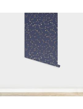 Gold And Navy Blue Starry Night Peel And Stick Wallpaper by World Market