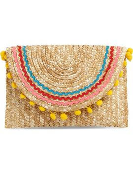 Pompom Straw Clutch by Shiraleah
