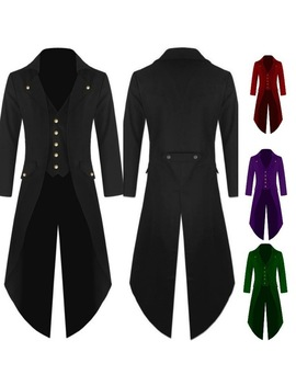 Adult Men Medieval Victorian Costume Tuxedo Gentlema Tailcoat Gothic Steampunk Trench Coat Frock Outfit Overcoat Uniform For Men by Ali Express