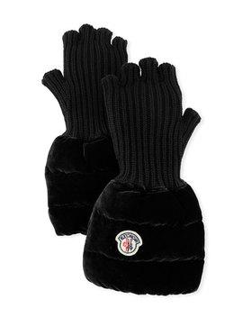 Moncler Fingerless Ribbed Wool Gloves W/Velvet Puffer Combo by Moncler