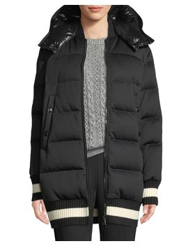 Harfang Puffer Coat W/ Contrast Hood by Moncler