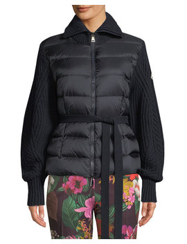 Moncler Mixed Media Zip Up  Puffer Cardigan by Moncler
