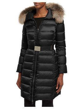Moncler Tinuviel Shiny Quilted Puffer Coat W/Fur Hood by Moncler