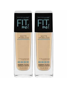 Maybelline Fit Me Matte + Poreless Liquid Foundation Makeup, Light Beige, 2 Count Oil Free Foundation by Maybelline New York