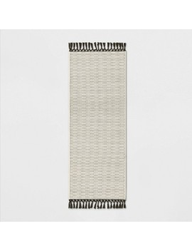 """60""""X20"""" Textured Runner With Fringe Neutral   Opalhouse™ by Opalhouse"""