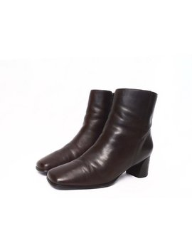 90's Zip Ankle Boots / Vintage Square Toe / Chunky Heels / Brown Leather / Size 8 by Etsy