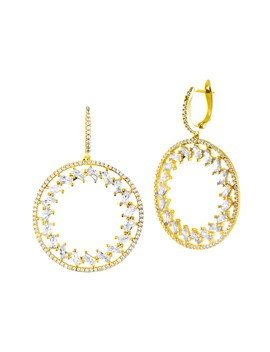 18 K Yellow Gold Sterling Silver Round Drop Earrings by Sphera Milano