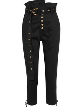 Gia Cropped Lace Up Cotton Blend Skinny Pants by Marissa Webb