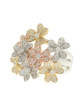 Tri Color Cz Floral Bouquet Ring by Savvy Cie
