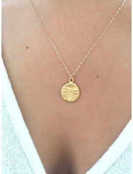 Dragonfly Necklace, Dragonfly Jewelry, Gold Disc Necklace, Minimalist Jewelry, Dainty Necklace, Gold Necklace, Coin Necklace Gold Coin by Etsy