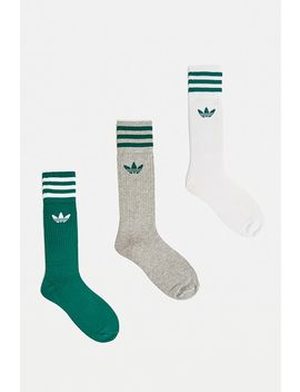 Adidas Grey, White And Green Crew Socks 3 Pack by Adidas