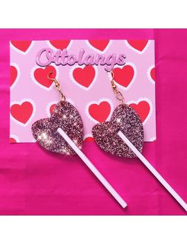 Pink Glitter Kitsch Kawaii Lolita Heart Lollipop Perspex Acrylic Dangle Earrings by Etsy