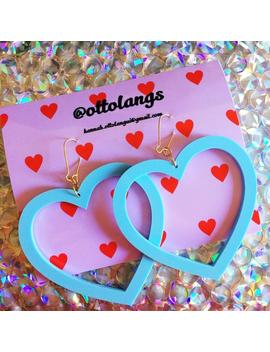 Kitsch Kawaii Perspex Baby Blue Pastel Over Sized Heart Dangle Earrings by Etsy