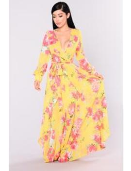 Presli Floral Dress   Yellow by Fashion Nova