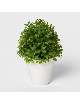 """8"""" X 4.2"""" Artificial Boxwood Arrangement In Pot Green/White   Threshold™ by Threshold"""