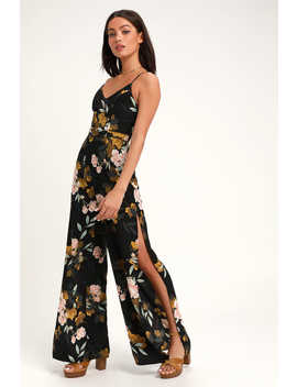 Beautiful Blooms Black Floral Print Wide Leg Jumpsuit by Lulus