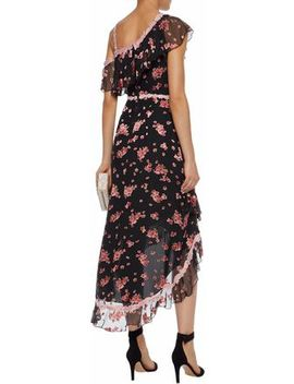 Guipure Lace Trimmed Floral Print Silk Blend Chiffon Dress by Alice + Olivia
