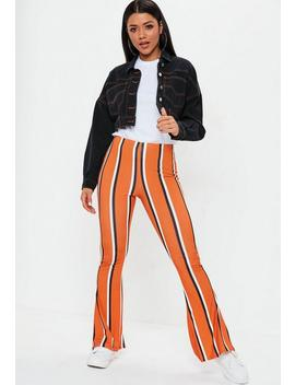 Orange Stripe Flare Trousers by Missguided
