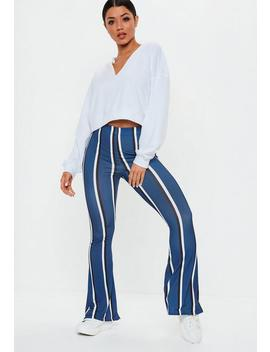 Blue Stripe Flare Trousers by Missguided