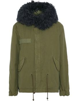 Shearling Trimmed Cotton Canvas Hooded Coat by Mr & Mrs Italy