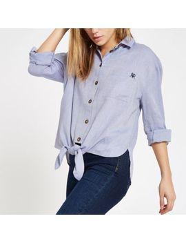 Blue Tie Front Rolled Sleeve Shirt by River Island