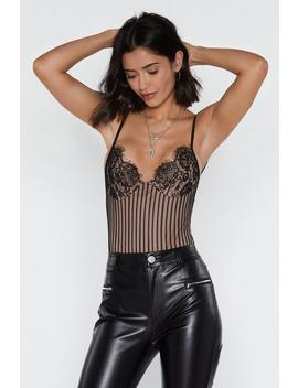 In First Lace Striped Bodysuit by Nasty Gal