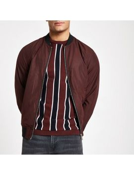 Dark Red Bomber Jacket by River Island