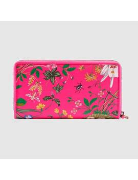 Zip Around Wallet With Flora Print by Gucci
