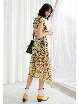Stretch Mesh Floral Midi Dress by & Other Stories