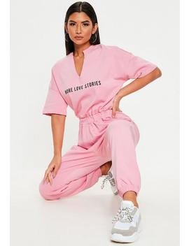 Pink More Love Stories T Shirt Jumpsuit by Missguided