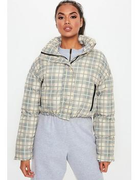 Grey Checked Crop Puffer Jacket by Missguided