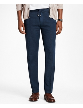Linen And Cotton Drawstring Pants by Brooks Brothers