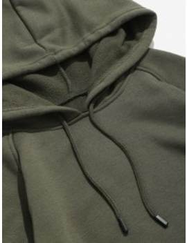 Basic Solid Pouch Pocket Fleece Hoodie   Army Green M by Zaful