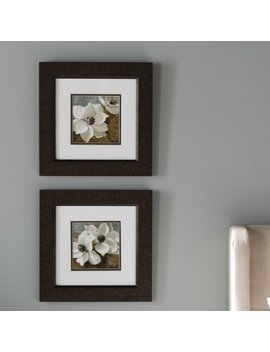 'magnolias I / Ii' Framed 2 Piece Graphic Art Print Set On Paper by Three Posts