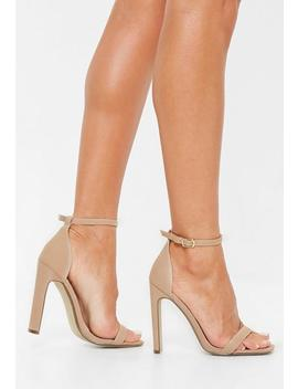 Nude Canvas Square Toe Barely There Heels by Missguided