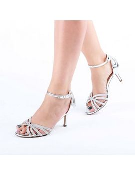 Pink By Paradox London   Silver Glitter 'harley' Mid Heel Wide Fit Ankle Strap Sandals by Pink By Paradox London