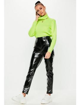 Black Faux Leather High Shine Zip Trousers by Missguided