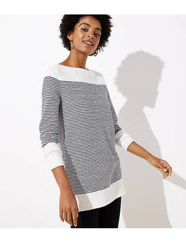 Petite Striped Speckled Boatneck Tunic Sweater by Loft