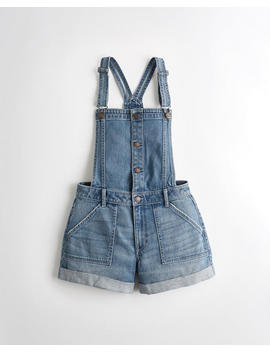Classic Stretch High Rise Denim Mom Short Overall 4 In. by Hollister