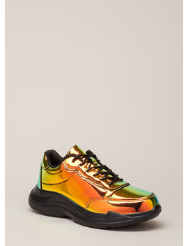 Spotlight Holographic Platform Sneakers by Go Jane