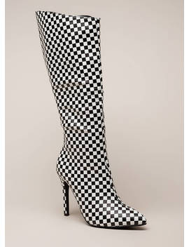 New Slant Pointy Checkered Boots by Go Jane