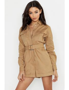 Heavy Twill Utility Boiler Playsuit by Boohoo