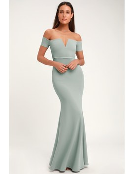Lynne Slate Blue Off The Shoulder Maxi Dress by Lulus