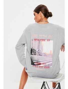 Grey Oversized Graphic 11th Ave Dress by Missguided